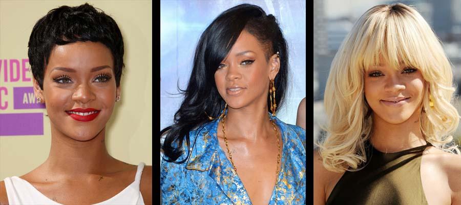 Extensões de cabelo na Rihanna